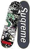 Qinmo Planches à roulettes Standard, Pro complet Skate-board, 31' x 8' Double coup de pied Tricks Skate Board avec 95A super Rebond Bushings, Street Surfing Planches à roulettes Maple for ados débutan