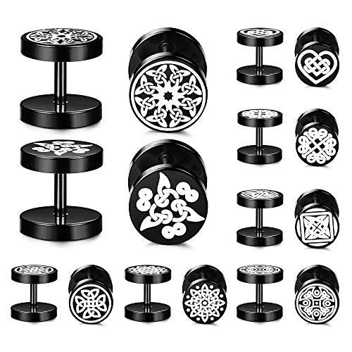 SAILIMUE Fake Gauge Celtic Knot Symbol Black Stud Earrings Men Women, Stainless Steel Ear Piercing Tunnel, Fake Ear Plugs Screw Back Earrings, 8 Pairs
