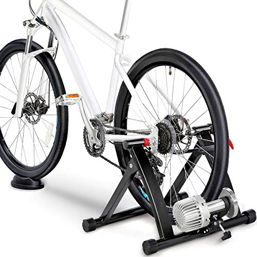 Topeakmart Indoor Bicycle Bike Trainer Exercise Stand Training Wheels Resistance Stationary w/Quick Release Skewer & Front Wheel Block