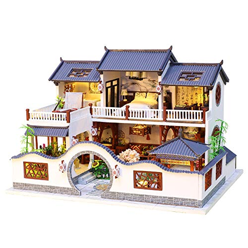 Spilay DIY Dollhouse Miniature with Wooden Furniture Kit,Handmade Mini Home Craft Model Chinese Style Plus with LED & Music Box,1:24 Scale Creative Doll House Toys for Teens Adult Gift