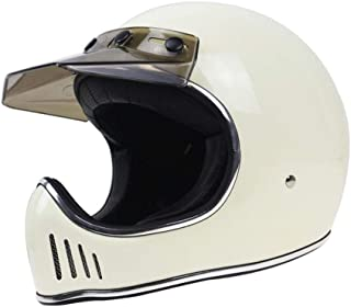 TEQIN Motorcycle Off-Road Racing Helmet Full Face Helmet Outdoor Racing Helmet White XXL
