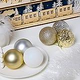 Valery Madelyn Weihnachtskugeln 50 Stücke 6CM Kunststoff Christbaumkugeln Weihnachtsdeko mit Aufhänger Weihnachtsbaumschmuck für Weihnachtsdekoration Elegant Basiskugel Thema Gold Weiß - 5
