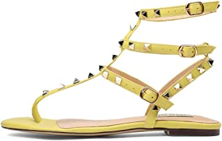3358e3431135d0 Chris-T Womens Open Toe Mules Sandal Flats Studs Flip-Flops Strappy Studded  Block