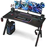 Ecoprsio 48 Inch Gaming Desk Y Shaped Gaming Computer Desk with Cup Holder and Headphone Hook Black Game Tables for Game Room, Workstation