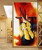 WFYY Türaufkleber Aquarell Geige Tapete Fototapete Musik Kunst Türtapete Selbstklebend Türposter 95x215cm