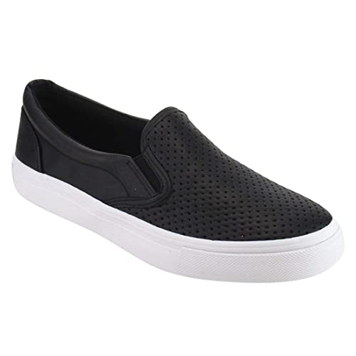 f6f250e71d Women s Slip On White Sole Shoes - Athletic Fashion Perforated Sneaker -  Padded Cushion
