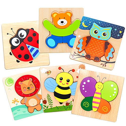 Ealing Wooden Jigsaw Puzzles for Toddlers 6 Packs Animal Puzzles for 1 2 3 Years Old Boys and Girls Preschool Educational Toys for Babies