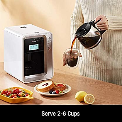 Hauswirt-Kaffeemaschine-Kaffeevollautomat-3-Mahlgrade-Warmhalteplatte-Abschaltautomatik-Abnehmbarer-Wassertank-Filterkaffeemaschine-mit-Glaskanne-fuer-2-6-Tassen