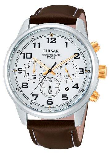 Pulsar Uhren PT3259X1 - Orologio da polso uomo, pelle, colore: marrone