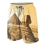 keiou Pantalones de Playa para Adolescentes,Pirámides de Egipto Famoso Gran Hito Maravilla La Vista del Patrimonio Mundial,Ropa de Playa Trajes de baño Shorts de Playa XL