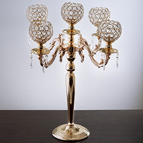 "Tableclothsfactory 25"" Tall Candelabra Chandelier Crystal Votive Candle Holder Wedding Centerpiece"