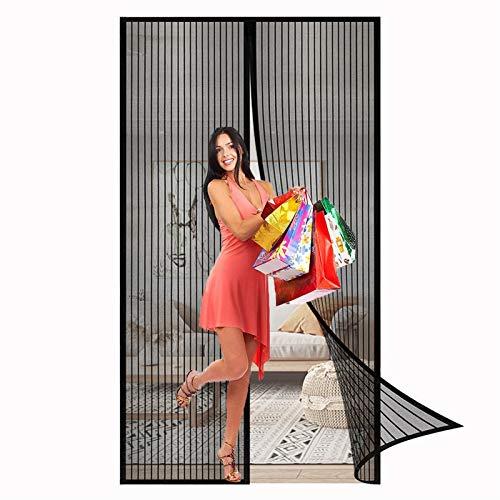 ERPENG Fliegennetz Vorhang 120x225cm Magnetverschluss faltbar Fliegengitter balkontür Vorhang einfach zu montieren Ohne Bohren für Balkontür Wohnzimmer Terrassentür, Schwarz