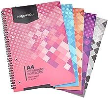 Amazon Basics Spiral-Notizblock, in verschiedenen Farben, 140 Seiten, DIN A4, 90 g/m², 5 Stück
