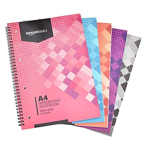 Amazon Basics - Quaderno con rilegatura a spirale, colori assortiti, 140 pagine, formato A4, 90 g/m², (confezione da 5)