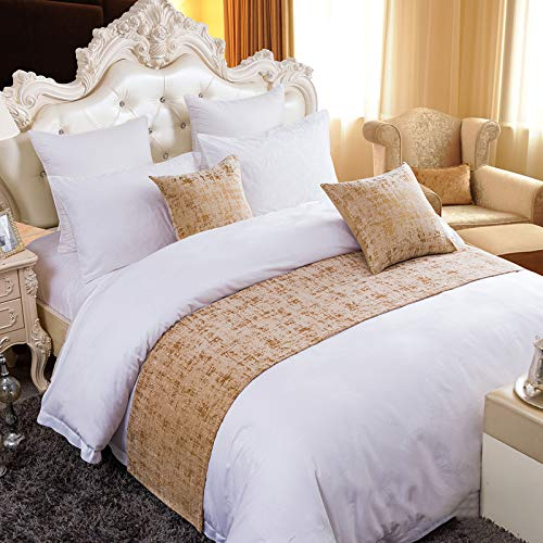 Twelve Gold Bed Runner Bedding Scarf King Chenille Soft No Fading Bed Protection for Home Hotel