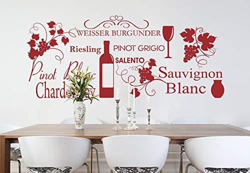 Wijn Muursticker Italiaanse Keuken Sticker Decoraties Italië Graphics Decor Art Sauvignon Blanc Pinot Grigio Riesling Restaurant Caffe 1010 Eenvoudig aan te brengen en verwijderbaar
