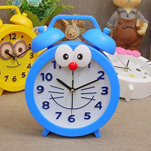 JINQIANSHANGMAO Reloj despertador de dibujos animados con diseño de oso y gato a la moda, reloj de cuarzo, para estudiantes, para hombres, mujeres y niños (color: azul)