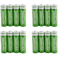 16-Pack Ovonic AA 2800mAh High Capacity Rechargeable Batteries