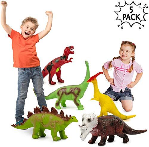 5 Brüllende Gross Dinosaurier Figuren | 35-40cm Realistisch Aussehende Gummi Schaumstoff Dino | Kinder Bildung Geschenke | Kindergeburtstag Party Dekoration