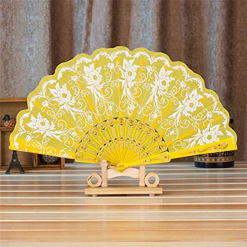 PENGHU Summer Style Dance Wedding Party Lace Silk Folding Hand Held Flower Fan Gift Colorful Dropshipping (Color : Yellow)