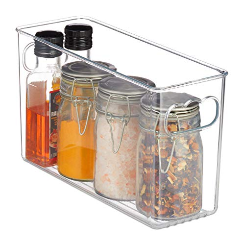 Relaxdays Kühlschrank Organizer, schmaler Küchen Korb, mit Griffen, für Lebensmittel, HBT: 15,5x10x26,5 cm, transparent, 1 Stück