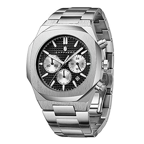SAPPHERO Reloj para Hombre Moda de Negocios Casual Movimiento de Cuarzo Reloj para Hombre Acero 3ATM Cronógrafo Resistente al Agua Lujo Clásico