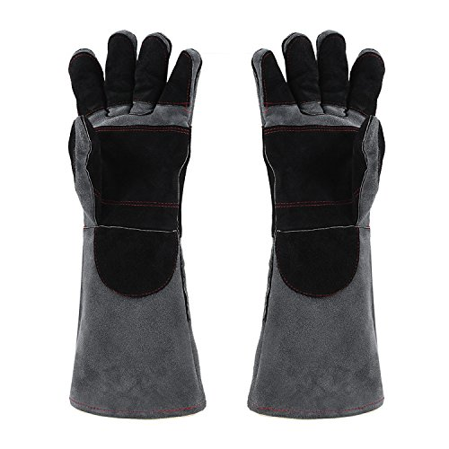 NKTM Barbecue Grill Gloves, Leather Welding Gloves EXTREME HEAT RESISTANT & WEAR RESISTANT - For Tig Welders/Mig/Fireplace/Stove/BBQ/Gardening, Gray - 16In