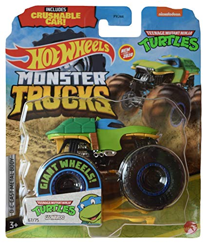 DieCast Hotwheels Monster Trucks TMNT Leonardo [1:64 Scale], Crushable Car