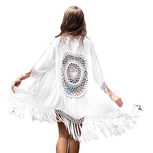 Camisola Playa Mujer Cardigan Pareos Bikini Cubrir Kimono con Encajes y Flecos Blusa Playa Encubrir Beach Cover Up Cubrir Traje de Baño Ropa de Natación de Playa Novias (Blanco, Tamaño Libre)