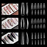 NOVAL Press on Nail Tips 3 Styles 1500PCS Long Ballerina Stiletto Short Coffin Clear Acrylic Full Cover Nails for Handmade Press on Nails Business DIY Nail Art