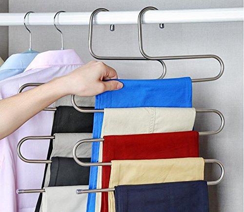 Beddingleer, cuccette salva-spazio per appendere gli indumenti, in acciaio INOX, a 5 strati, 2 pezzi