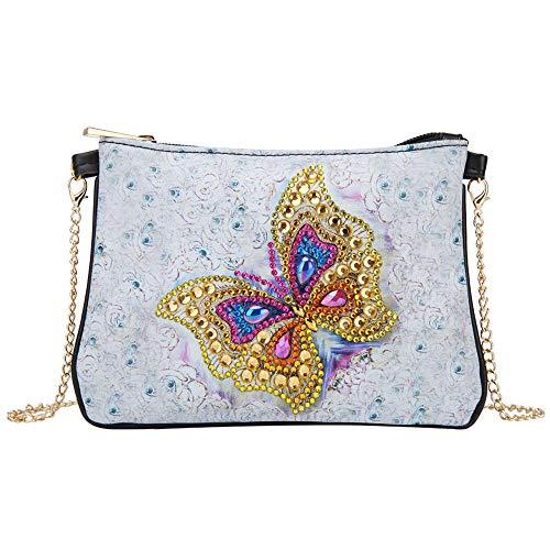 Domybest schoudertas voor dames, DIY, 5D, diamond painting, portemonnee, leer, portefeuille, damestas, schoudertas, ketting, kleine handtas, knutselen Gouden vlinder