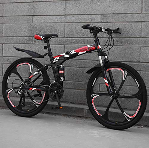 Huashao 24 Inch Mountain Bike, Folding for Men and Women, Dual Full Suspension Bicycle High Carbon Steel Frame, Steel Disc Brake, Magnesium Alloy Wheel,21/24/27 Speed Bicycle,A2,21