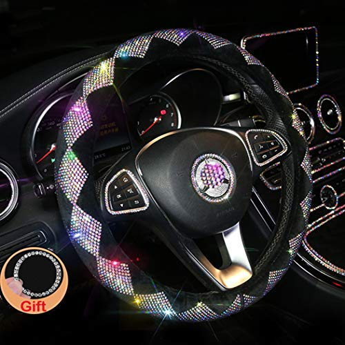 Forala Car Steering Wheel Cover Plush Bling Bling Rhinestone Glitter Universal for Girls Lady Winter Warm (Colorful-A)