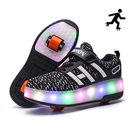 Sunflower Zapatos De Skate para Niños Zapatos con Ruedas con Luz LED Zapatillas De Deporte De Moda Niñas Niños Zapatillas De Deporte De Malla Cómodas,Black-36
