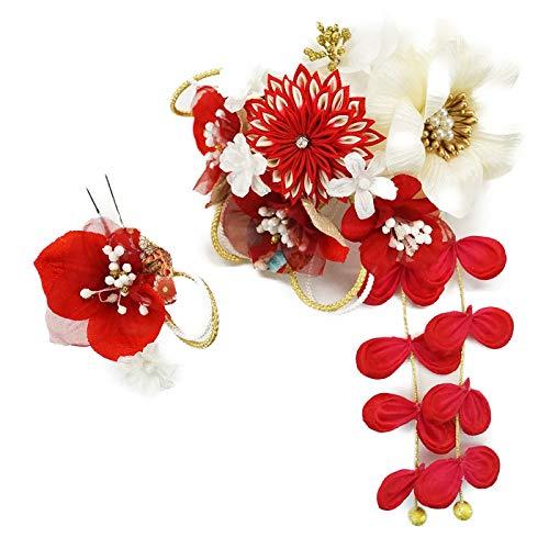 髪飾り 2点セット kk-352 赤 レッド ホワイト 花 かんざし ちりめん つまみ細工 コーム型 振袖 成人式 卒業式 結婚式 七五三 袴 和装