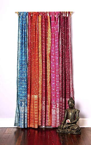 """Light-Filtering Sari Colorful Curtains – Boho Curtains, Bed Canopy Panel, Window Treatment For Bedroom or Living Room, Indian Print Curtains + Tote bag (108""""L x 42""""W, Turuoise Teal Set of 2)"""