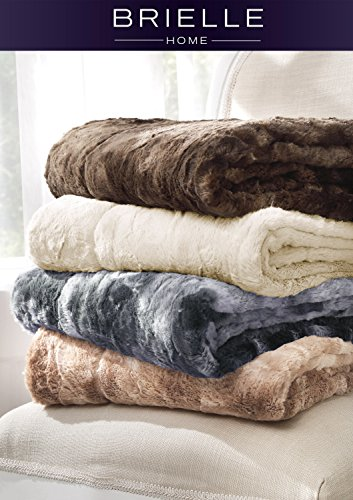 Brielle Nesting Faux Fur Reversible Throw, Tundra Swan