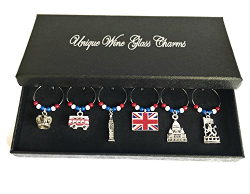Libby's Market Place London Wine Glass Charms with Gift Box