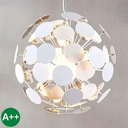 Preisvergleich Produktbild Lampenwelt Pendelleuchte 'Kinan' dimmbar (Modern) in Weiß u.a. für Wohnzimmer & Esszimmer (5 flammig,  E14,  A++) - Deckenlampe,  Esstischlampe,  Hängelampe,  Hängeleuchte,  Wohnzimmerlampe