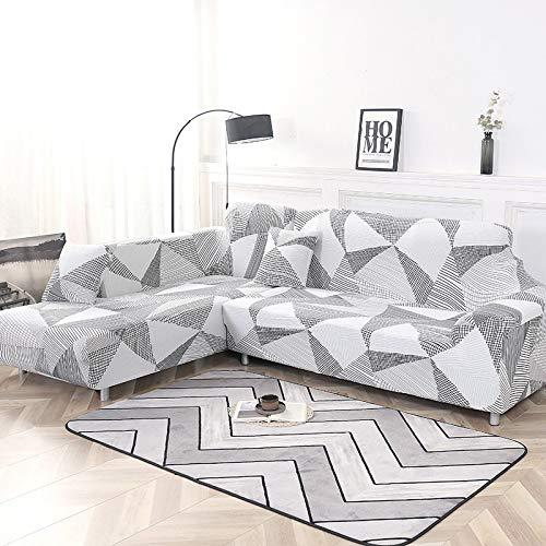 Juego de Fundas geométricas para sofá, Funda de sofá, Funda elástica para sofá para Sala de Estar, Apta para el sofá de Esquina Chaise Longue A7 de 4 plazas