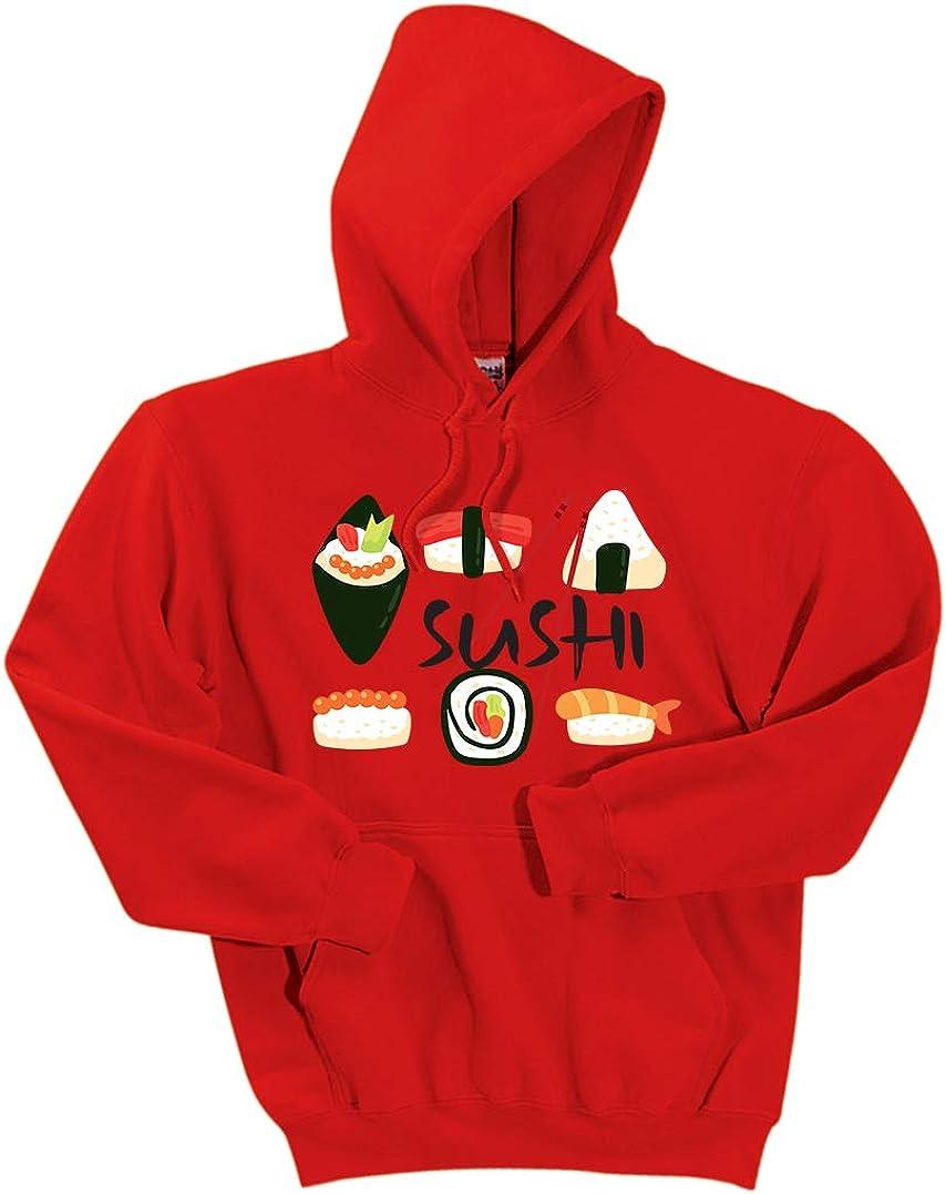 INK STITCH Unisex Sushi Set DryBlend Pullover Hoodie Sweatshirts - Red (2XL)