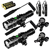 X.Store 2 Pack Tactical Flashlight With Rail Mount, USB Picatinny Flashlights 4000 High Lumen LED Weapon Light, 5 Modes Rifle Light - Rechargeable Battery and Pressure Switch Included