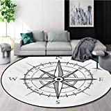 RUGSMAT Compass Traditional Round Area Rug Design,Hand Drawn Compass Windrose North and South East West Directions Black and White Non-Slip No-Shedding Kitchen Soft Floor Mat,Round-47 Inch