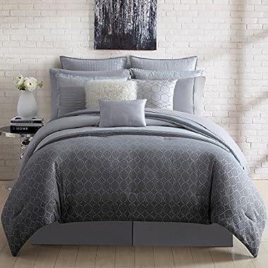Nikki Chu 4 Piece Lyon Comforter Set, Queen, Includes Bed Skirt & 2 Pillow Shams, Silver Gray