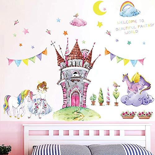WandSticker4U®- XL Aquarell Wandtattoo Prinzessin Schloss I Wandbilder: 105x90 cm I Wandsticker Kinderzimmer rosa Blumen Einhorn Elfen Sterne Aufkleber I Wand Deko für Babyzimmer Mädchen