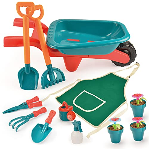 unanscre Gardening Tool Set for Kids, with Toddler Wheelbarrow, Watering Can, Spray Bottle, Rakes, Shovel, Trowel, Pruner, Flowerpots, Flowers, Apron, Garden Toys for Age3+ Outdoor Yard Play