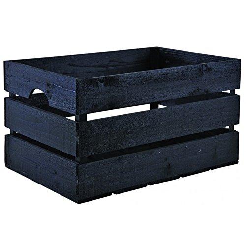 Caisse en bois peint noir
