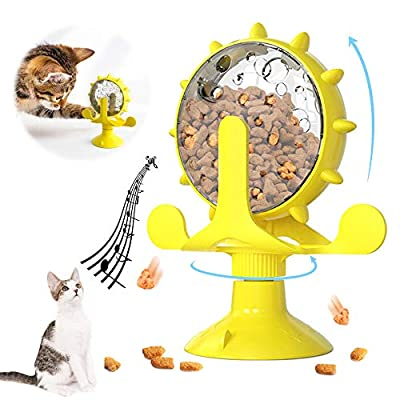 BOW CALICO Cat Toys,Interactive Cats Toy,Windmill Turntable Teasing Cat Toy,Food-Dispensing Cat Toy, Funny Interactive Training Pet Play Toy with Suction Cup