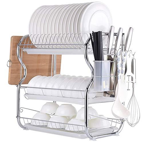TFeibo 304 RVS afvoerbak Home wastafel keukenrek besturing wastafel drogen vaatkast met bestek opbergdoos 3 lagen A wit